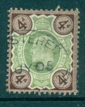 GB 1902-11 KEVII 4d grey brown & green FU lot66726