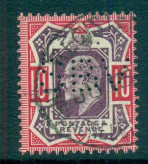GB 1902-11 KEVII 10d carmine & dull purple (perfin SBV) FU lot66729
