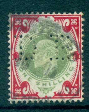 GB 1902-11 KEVII 1/- carmine & dull green (faded) (perfin DB) FU lot66730