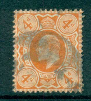 GB 1910 KEVII 4d pale orange FU lot66731