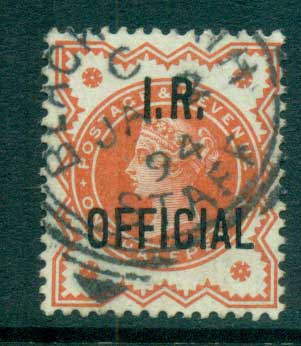GB 1888-89 1/2d vermillion Opt. I.R. OFFICIAL FU lot66907