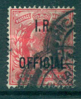 GB 1902-04 1d carmine Opt. I.R. OFFICIAL FU lot66908
