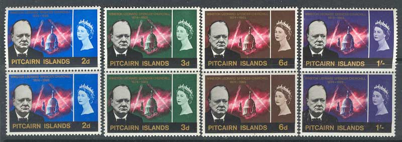 Pitcairn Is 1966 Churchill Pairs MUH Lot10253