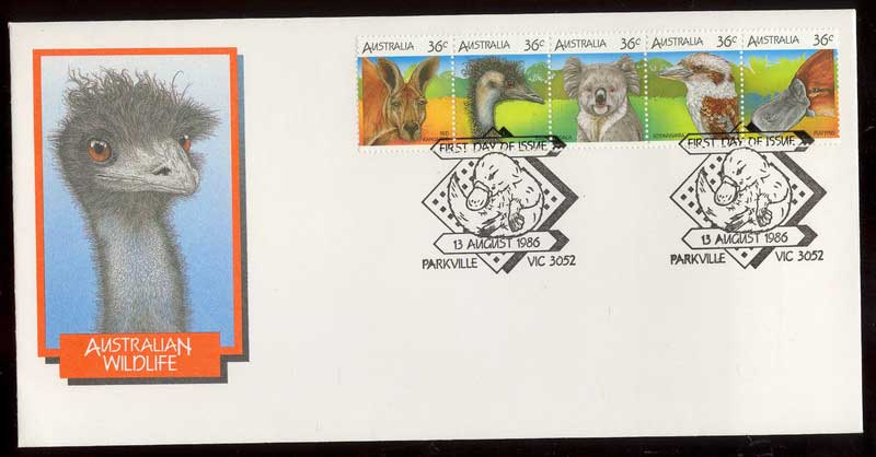 Australia 1986 Wildlife Strip FDC Lot12455