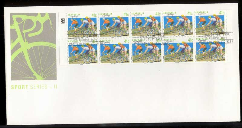 Australia 1989 41c Cycling Booklet Perf FDC Lot12567