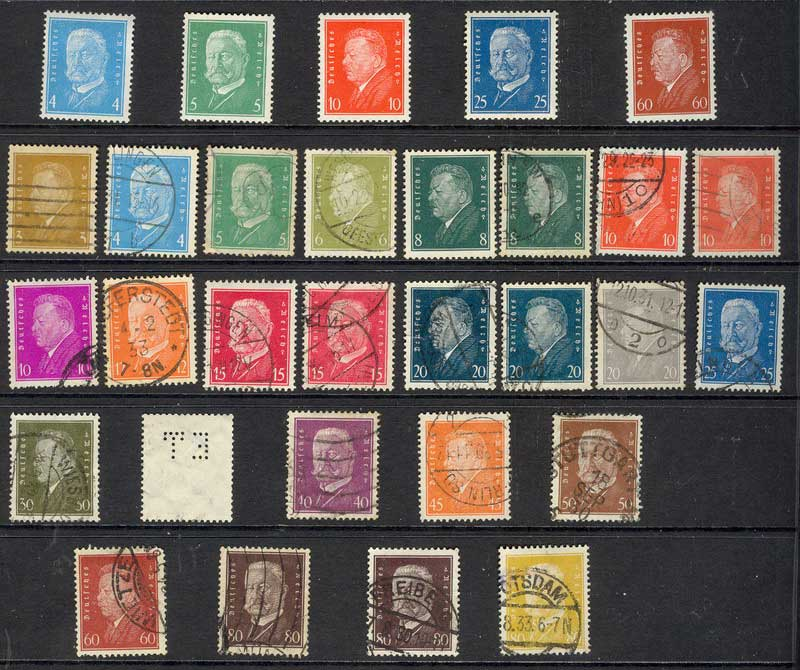 Germany Reich 1928 Ebert & Hindenburg Asst MH/FU Lot12622