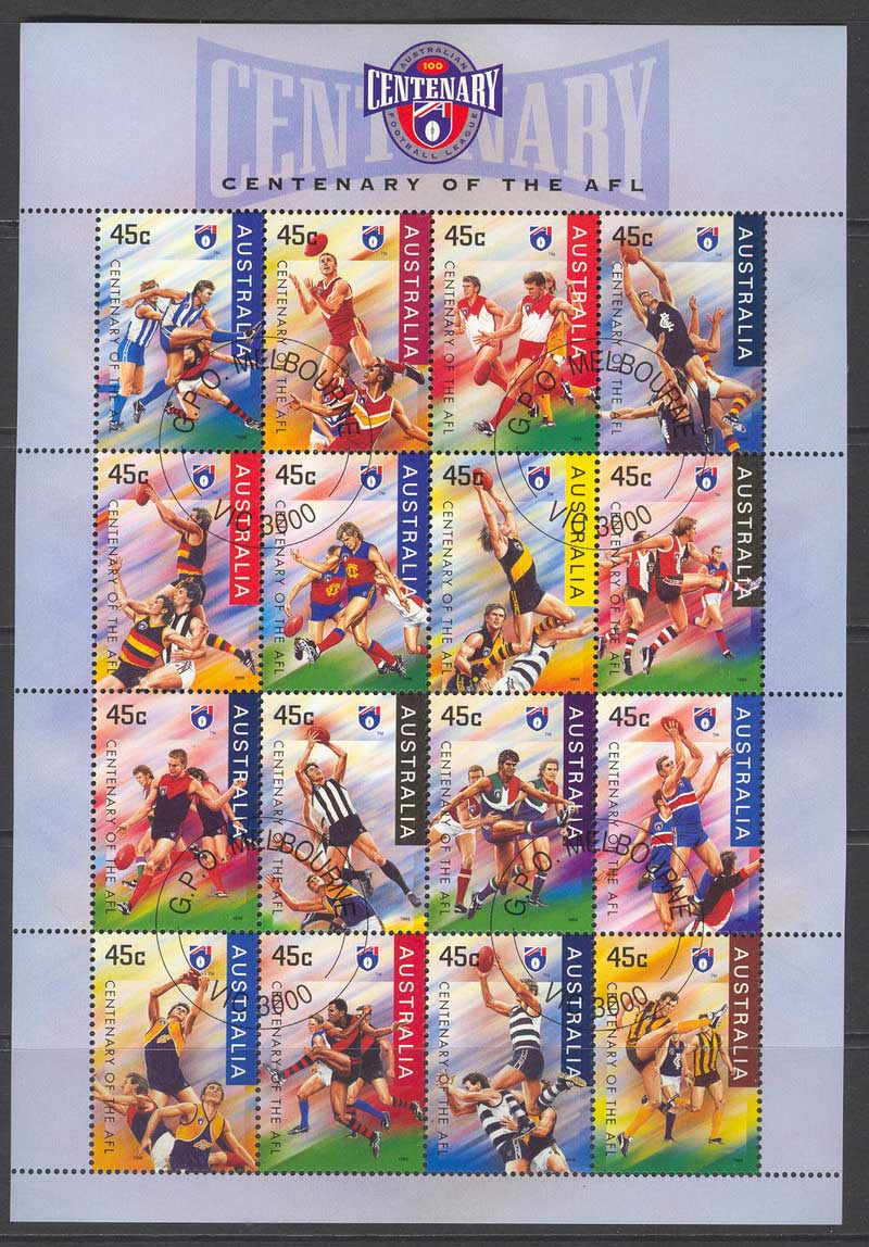 Australia 1996 Centenary of AFL MS cto Lot12707
