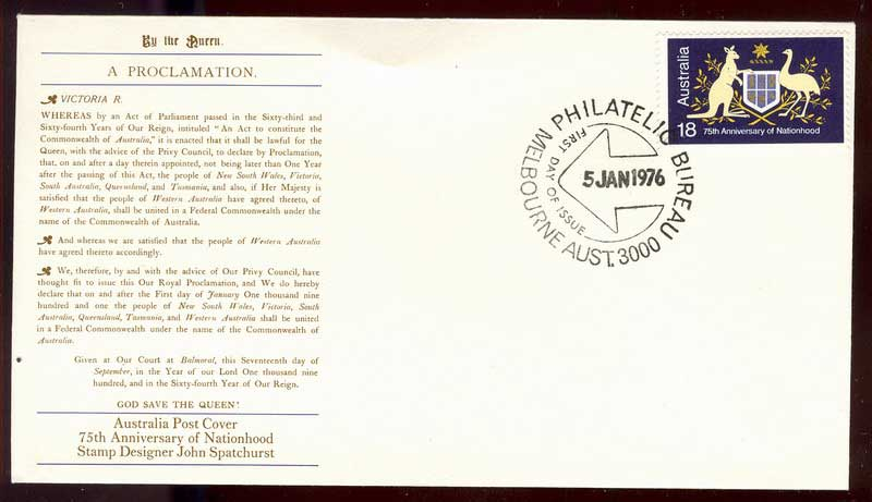 Australia 1976 Nationhood Die I FDC Lot13499