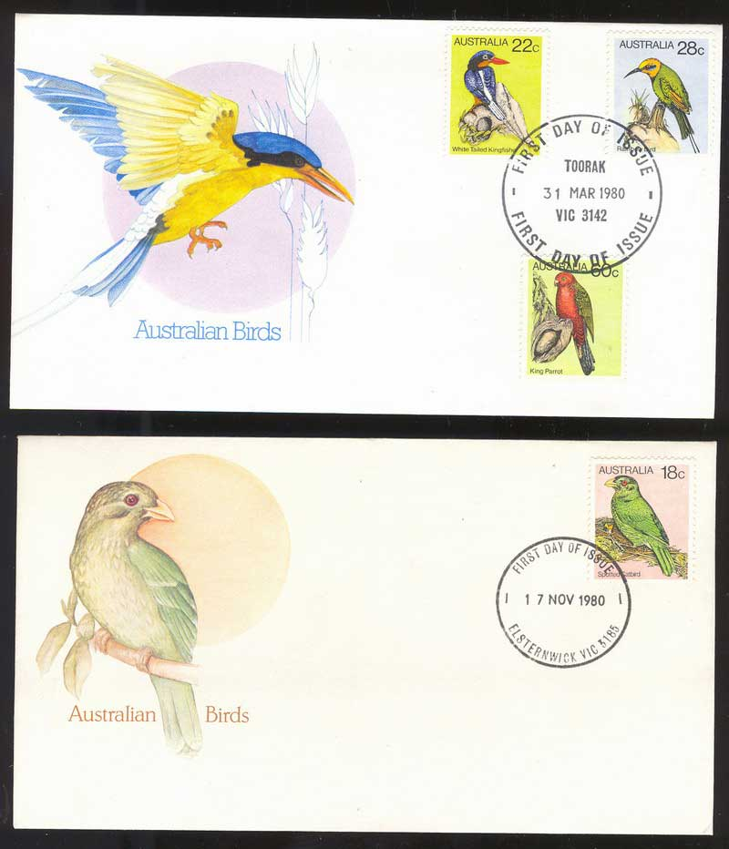 Australia 1980 18,22,28,60c Birds (2) FDC Lot13531