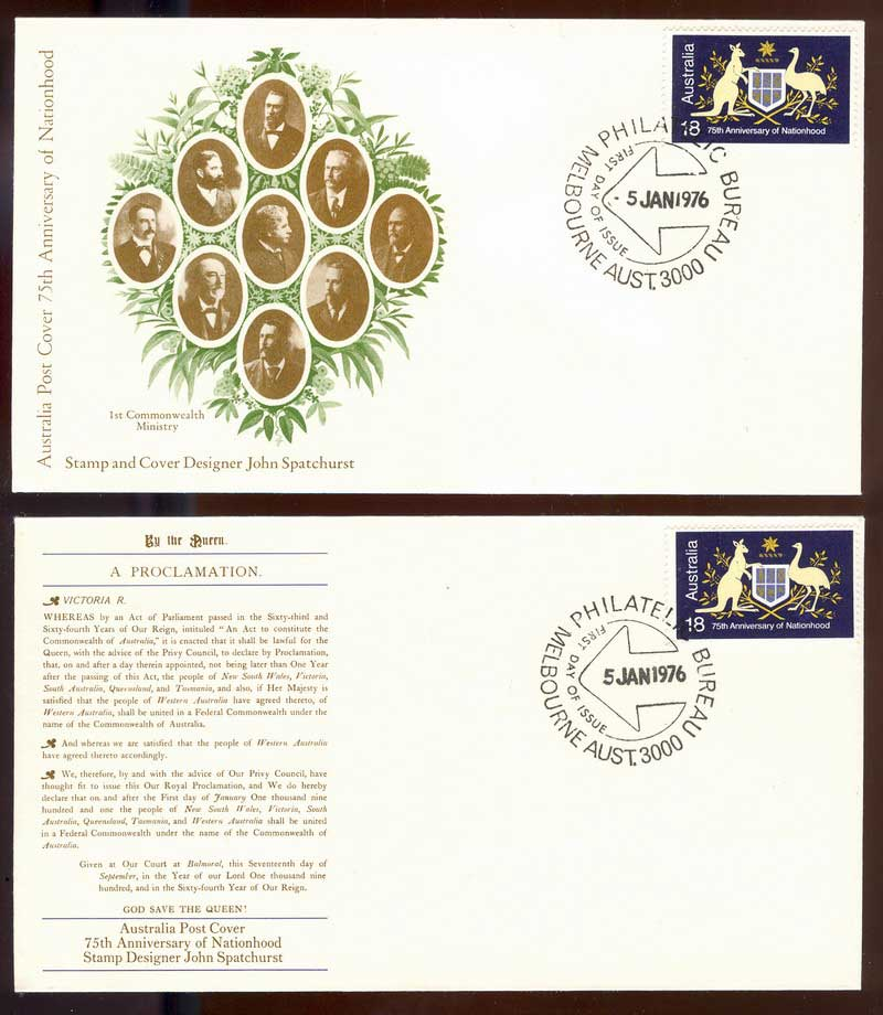 Australia 1976 Nationhood Die I (2) FDC Lot13565