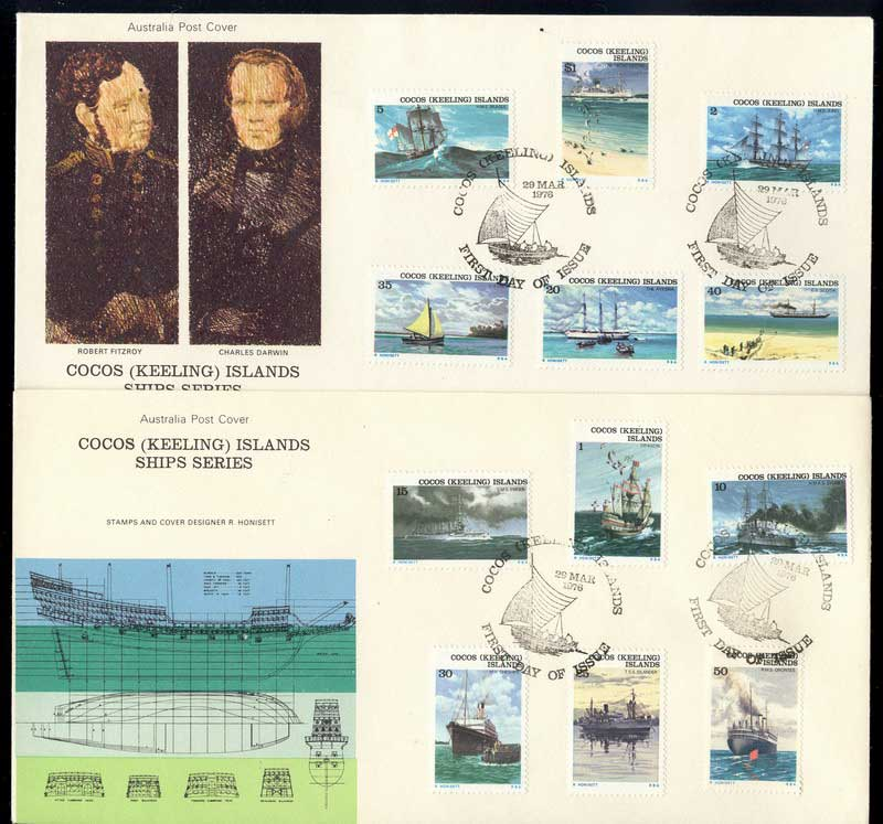 Cocos Keeling Is 1976 Ships (2) FDC Lot13857