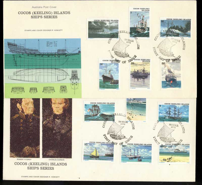 Cocos Keeling Is 1976 Ships (2) FDC Lot13858