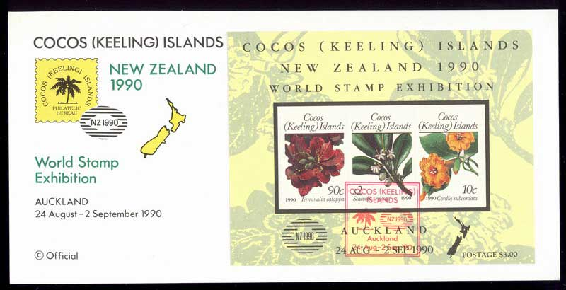 Cocos Keeling Is 1990 NZ Stampshow Official Card Lot13865