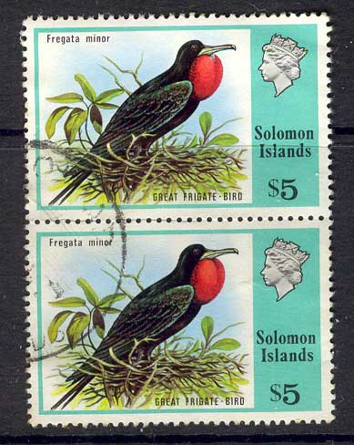 Solomon Is 1976 $5 Frigate Bird Pair FU Lot13901