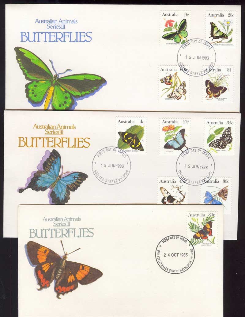 Australia 1983 Butterflies FDC (3) Lot13974
