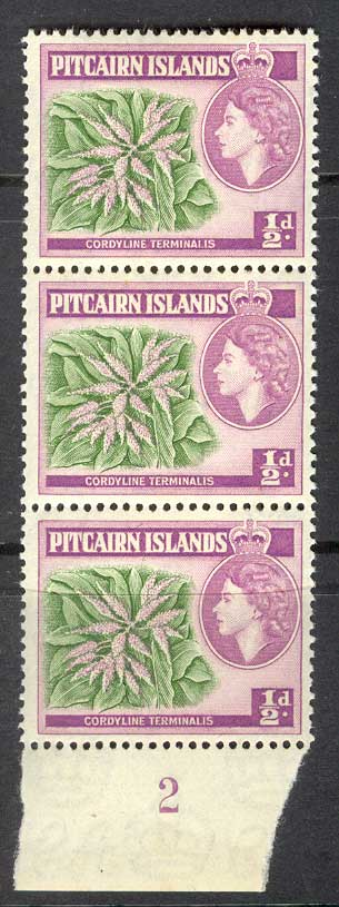 Pitcairn Is 1957 QEII 1/2d Plate # Strip 3 MUH Lot14327
