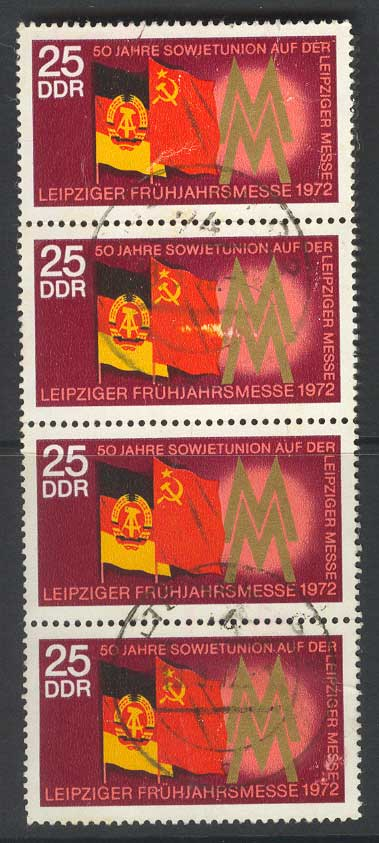 Germany DDR 1972 Leipzig Fair 25pf strip4 FU 14652