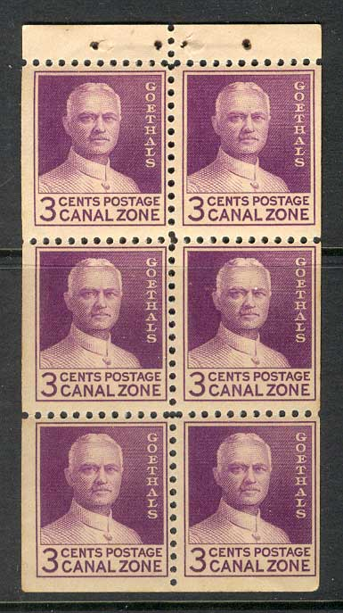 Canal Zone 1934 Goethals Booklet Pane MUH Lot14927