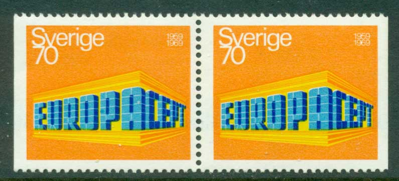 Sweden 1969 70o Europa Pair Perf 3 sides MUH Lot15901