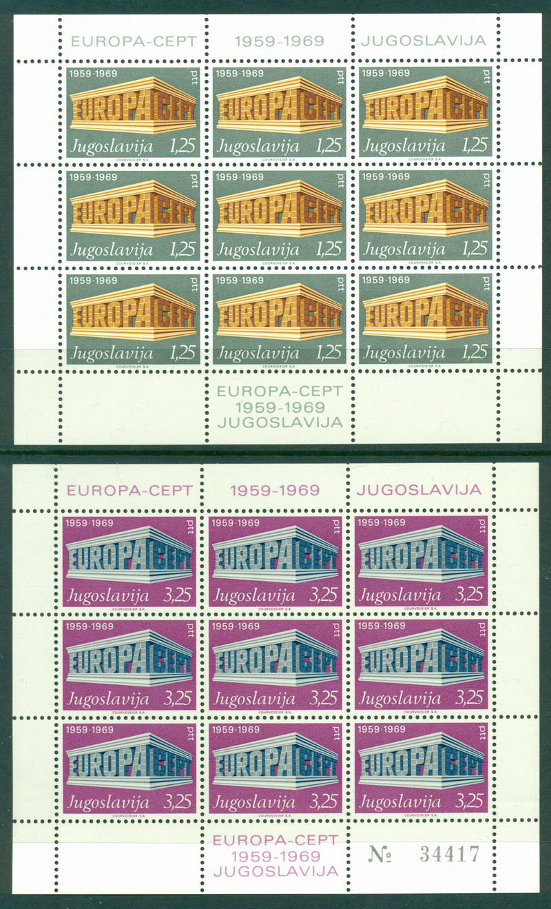 Yugoslavia 1969 Europa Sheet 9 MUH Lot16362