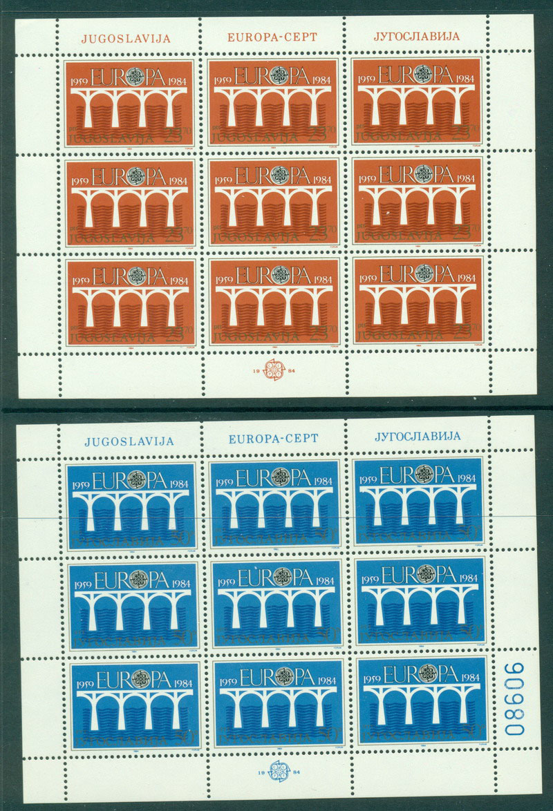 Yugoslavia 1984 Europa Sheet 9 MUH Lot16382