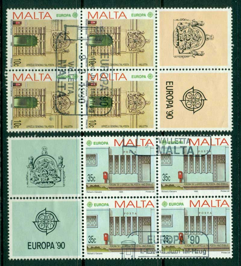 Malta 1990 Europa Block 4 + labels FU Lot16425