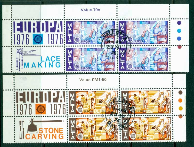 Malta 1976 Europa Block 4 + labels FU Lot16426