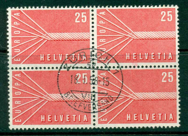 Switzerland 1957 25c Europa Block 4 FU Lot16429