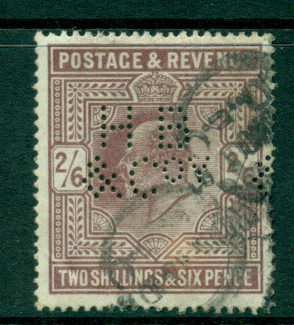 GB 1902 2/6d lilac perfin (sml. faults)Used Lot16561