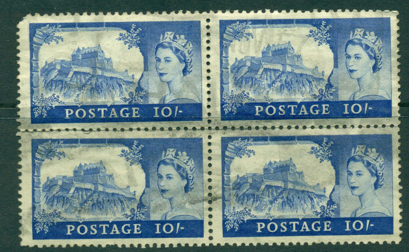 GB 1955 10/- Block 4 faults Used Lot16592