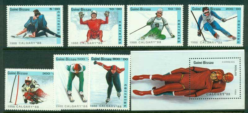 Guinea Bissau 1988 Winter Olympics + MS MUH Lot16822