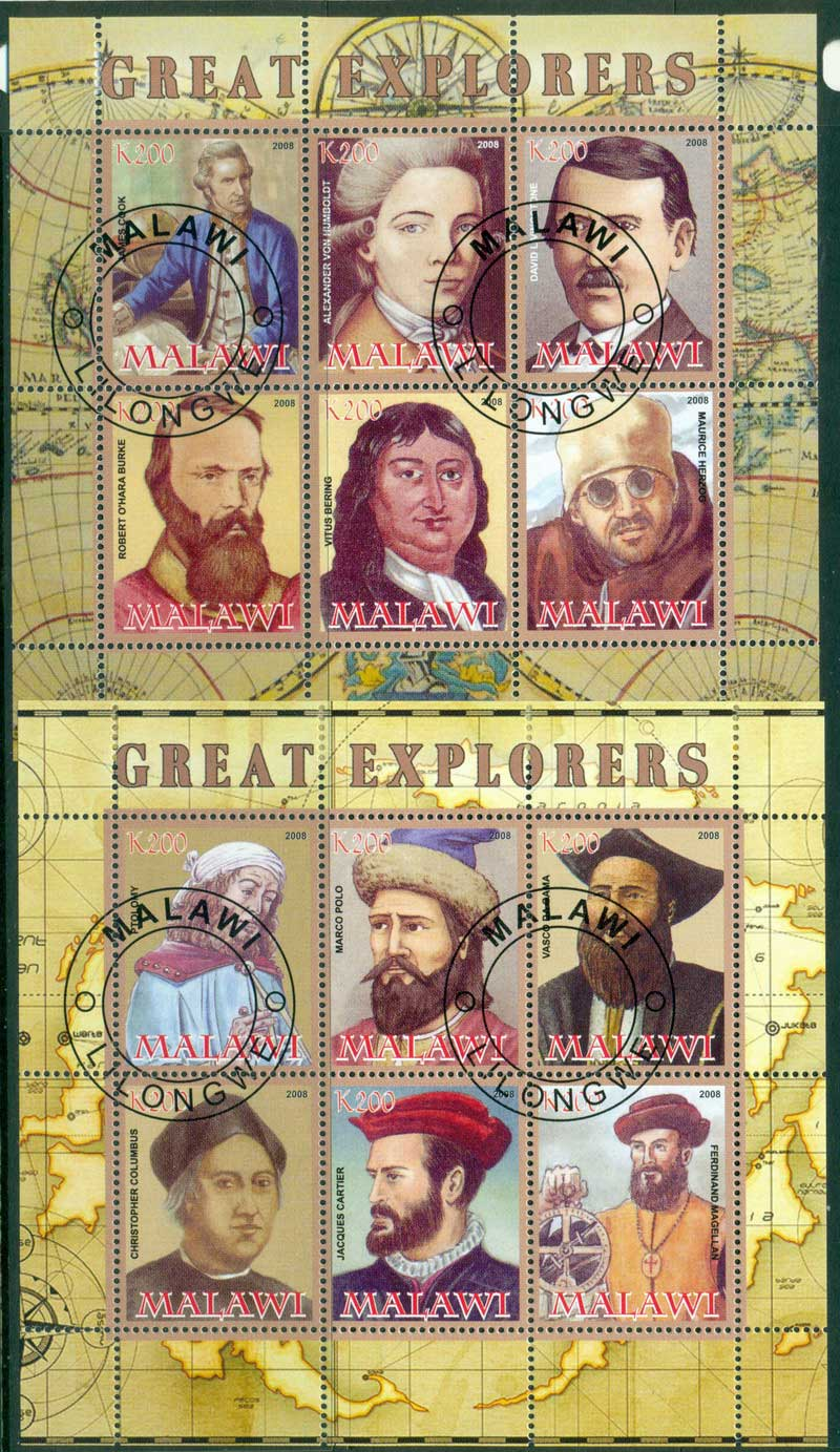 Malawi 2008 Great Explorers 2x MS CTO Lot17239