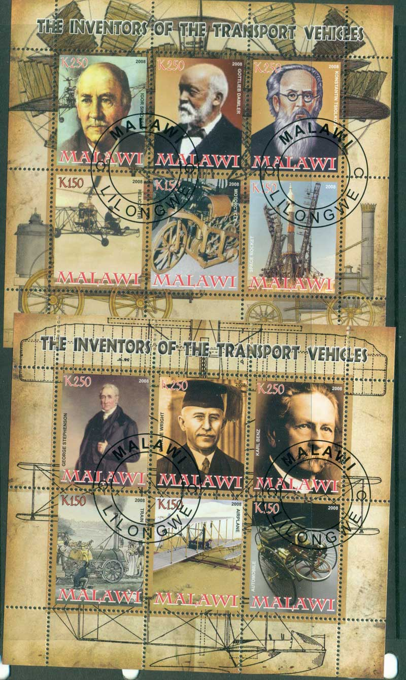 Malawi 2008 Transport Inventors 2x MS CTO Lot17243