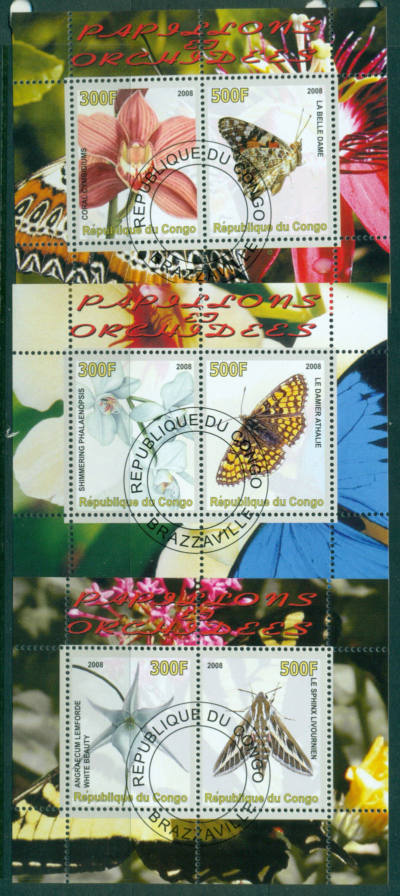 Congo Rep 2008 Butterflies,Orchids Flowers3x MS CTO Lot17253