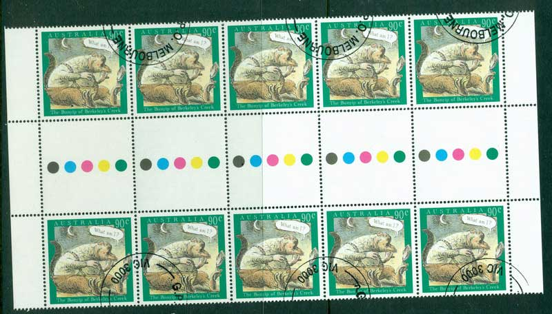 Australia 1994 90c Bunyip Gutter Strip CTO Lot17337