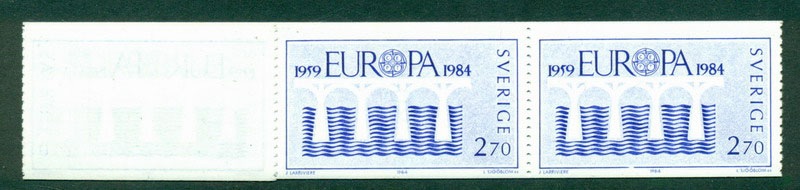 Sweden 1984 Europa Coil Strip (folded) (10) MUH Lot17623