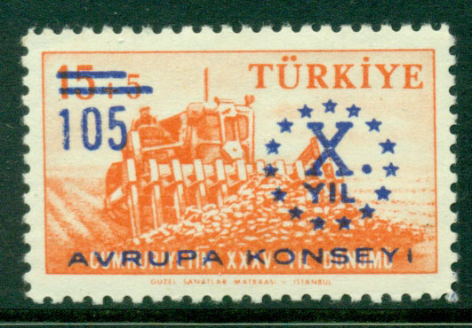 Turkey 1959 Council of Europe Opt MUH Lot17647
