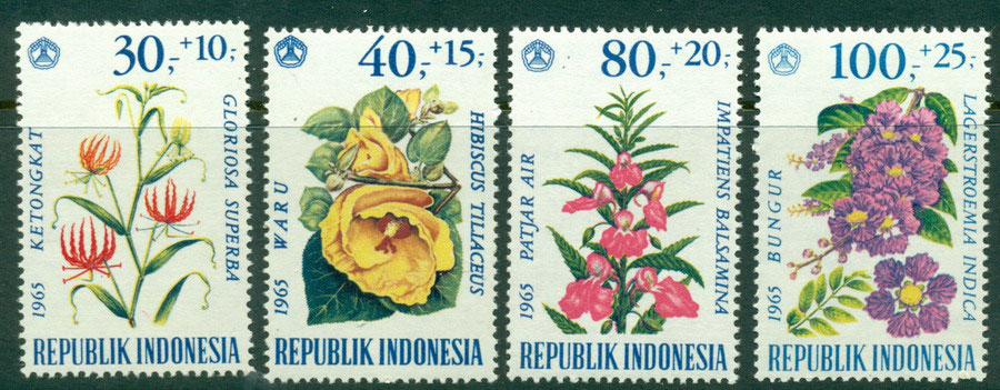 Indonesia 1965 Flowers Charity MUH Lot17856