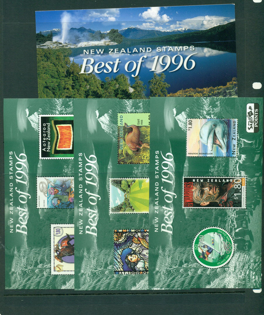 New Zealand 1996 Best of 3x MS + folder MUH Lot18509