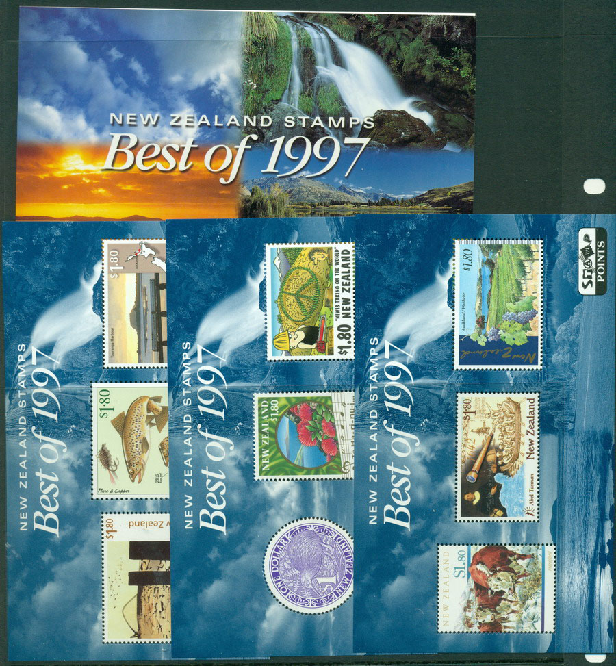 New Zealand 1997 Best of 3x MS + folder MUH Lot18510
