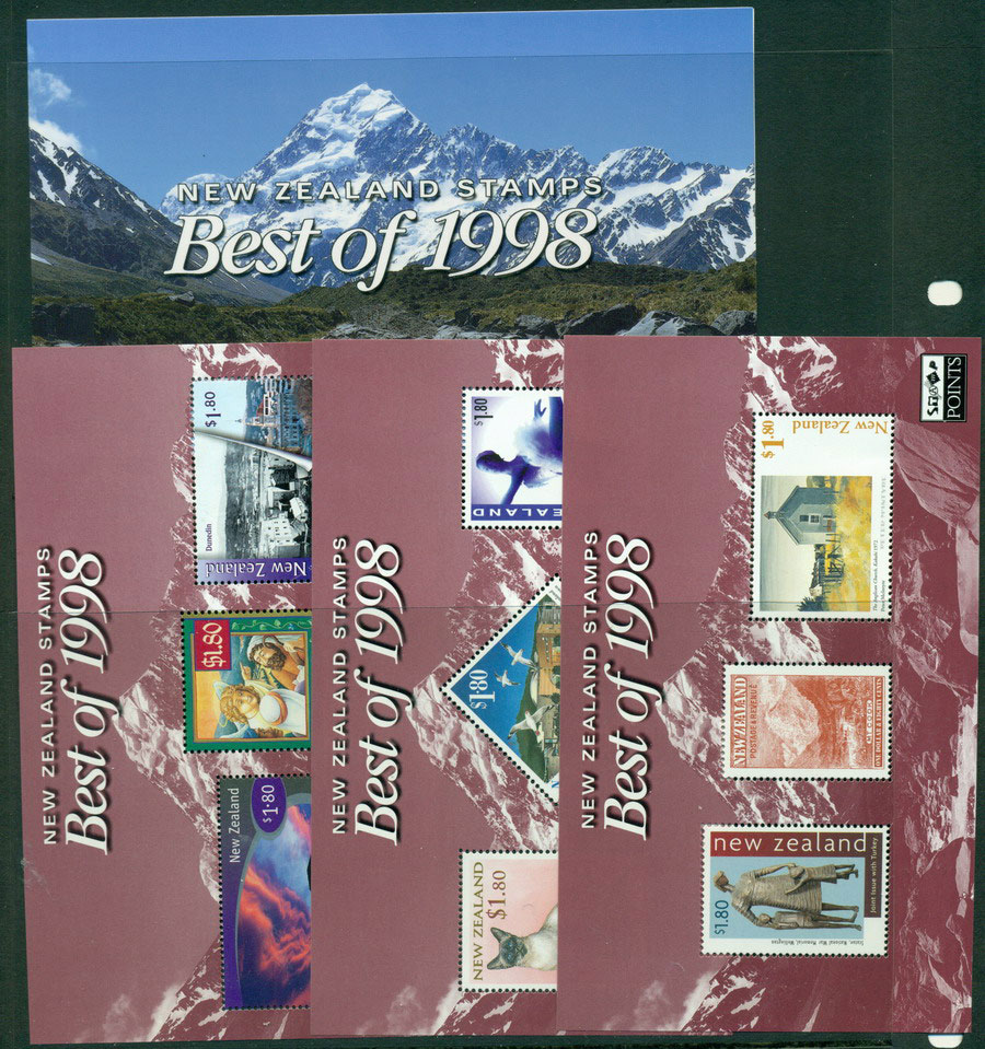 New Zealand 1998 Best of 3x MS + folder MUH Lot18511