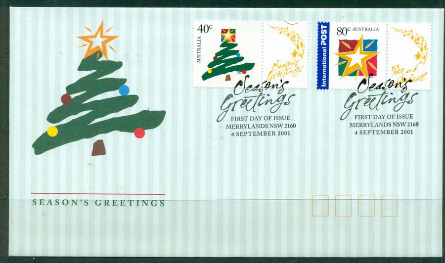 Australia 2001 Seasons Greetings FDC Lot19304