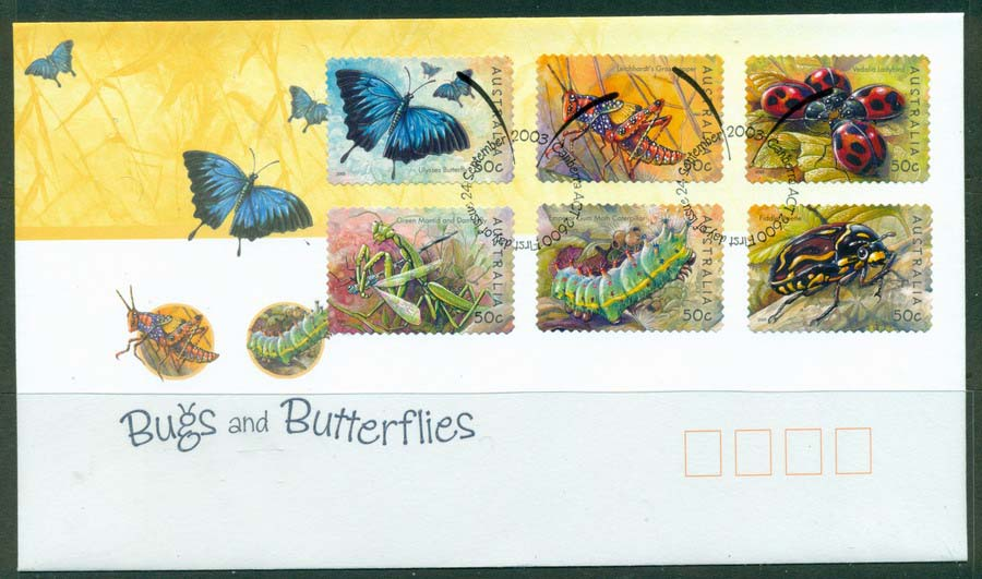 Australia 2003 Bugs & Butterflies P&S FDC Lot19356