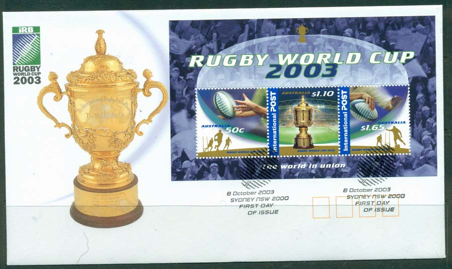 Australia 2003 Rugby World Cup MS FDC Lot19363