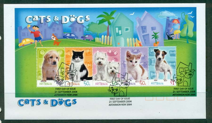 Australia 2004 Cats & Dogs MS FDC Lot19401