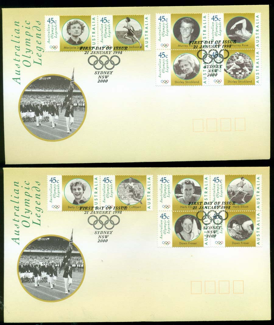 Australia 1998 Olympic Legends, Sydney 2x FDC Lot19474
