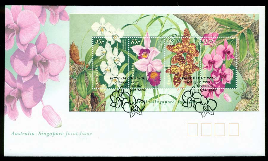 Australia 1998 Native Orchids Flowers, Townsville MS FDC Lot19486