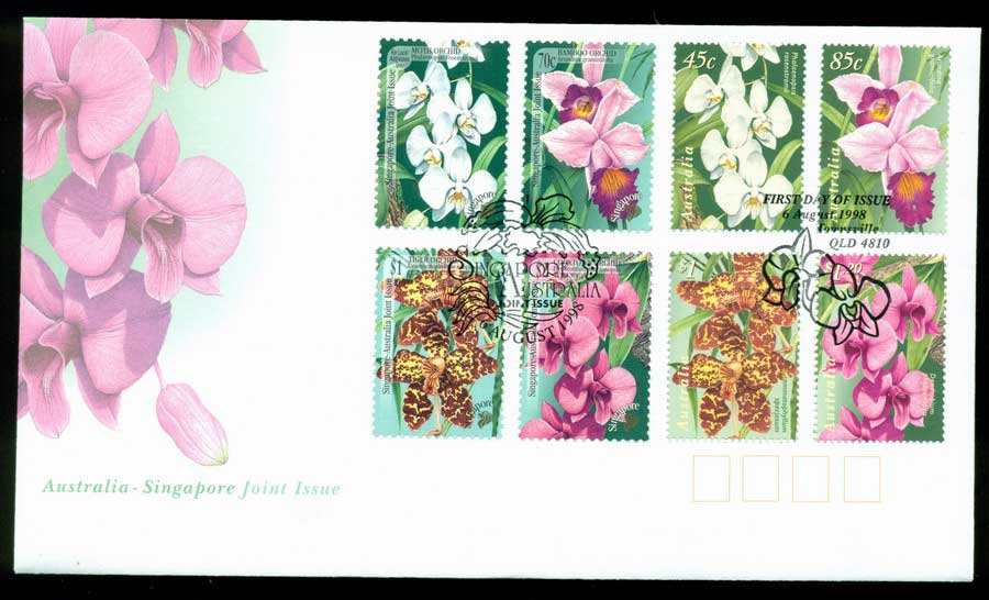 Australia 1998 Native Orchids Joint + Singapore FDC Lot19487
