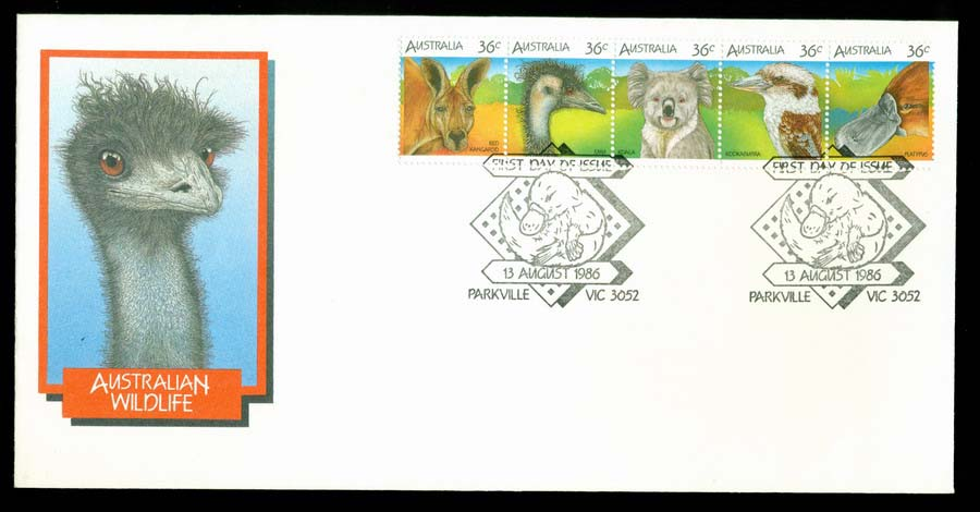 Australia 1986 Wildlife Strip FDC Lot19739