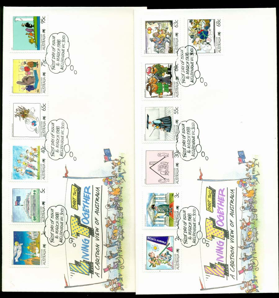 Australia 1988 Living Together II, 2x FDC Lot19824